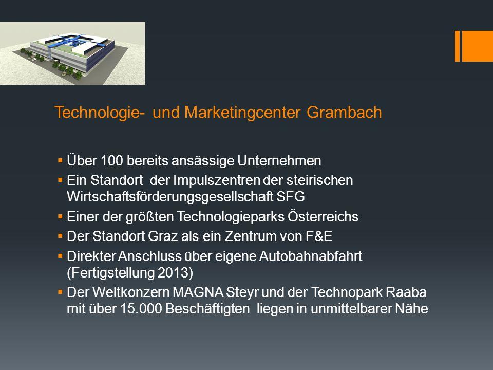 Technologie- und Marketingcenter Grambach Über 100 bereits ansässige Unternehmen Ein Standort der Impulszentren der steirischen Wirtschaftsförderungsg