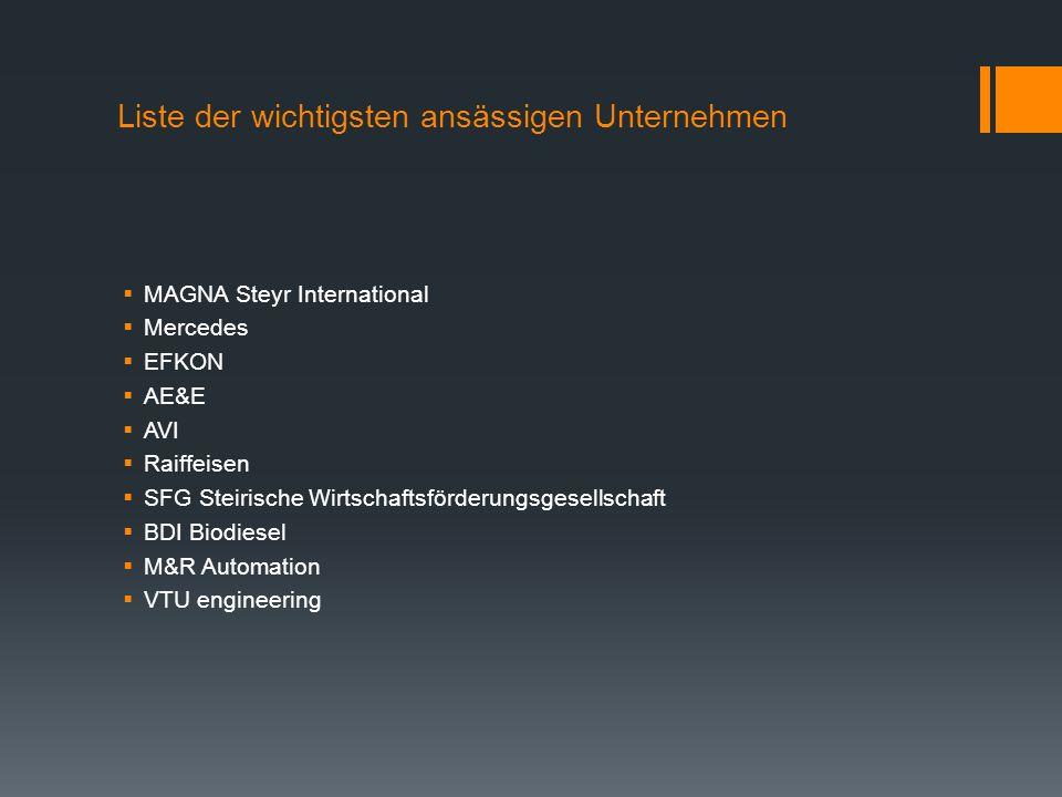 Liste der wichtigsten ansässigen Unternehmen MAGNA Steyr International Mercedes EFKON AE&E AVI Raiffeisen SFG Steirische Wirtschaftsförderungsgesellschaft BDI Biodiesel M&R Automation VTU engineering