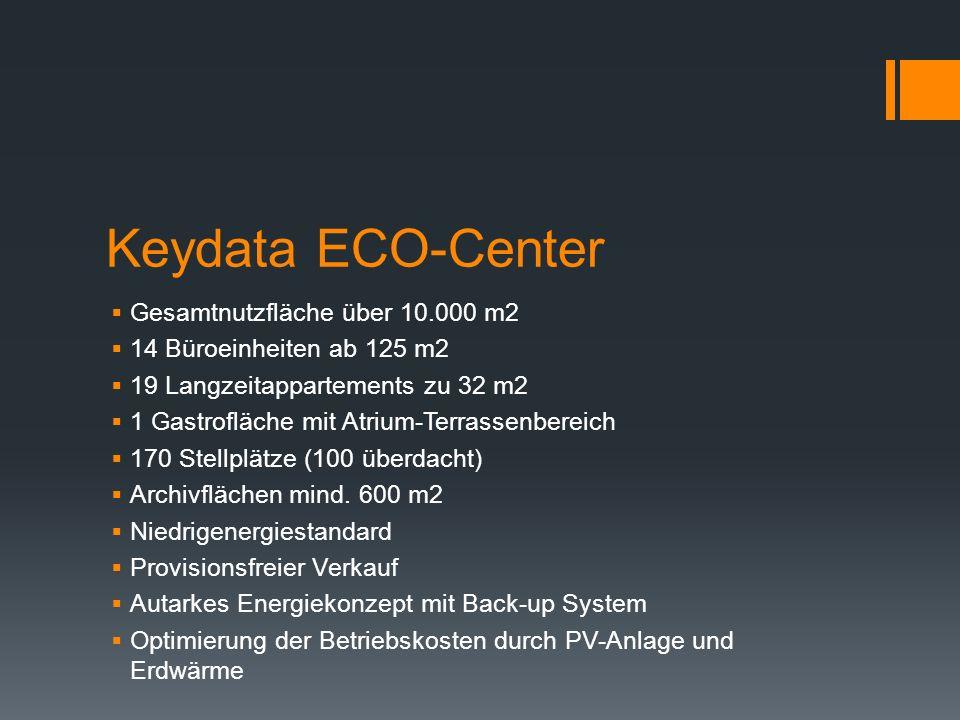 Keydata ECO-Center Gesamtnutzfläche über 10.000 m2 14 Büroeinheiten ab 125 m2 19 Langzeitappartements zu 32 m2 1 Gastrofläche mit Atrium-Terrassenbereich 170 Stellplätze (100 überdacht) Archivflächen mind.