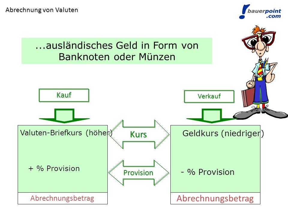 ...ausländisches Geld in Form von Banknoten oder Münzen Kauf Verkauf Valuten-Briefkurs (höher) Geldkurs (niedriger) Kurs Provision + % Provision - % P