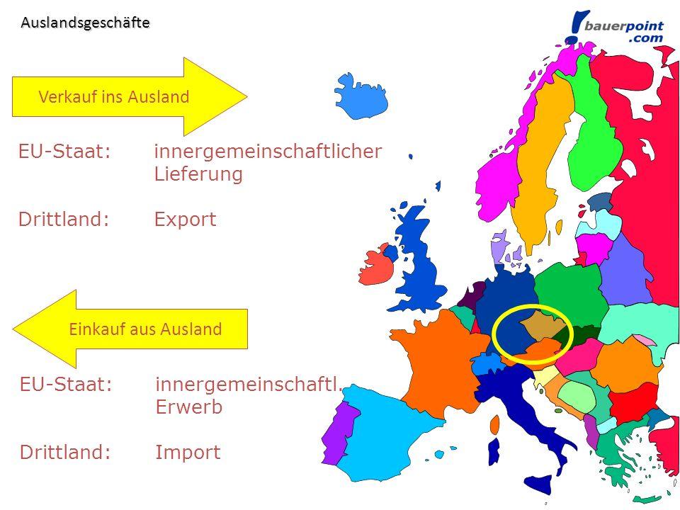 Lieferung in Drittland (Export) 20..Kundenkonto an 4010 Erlöse a.