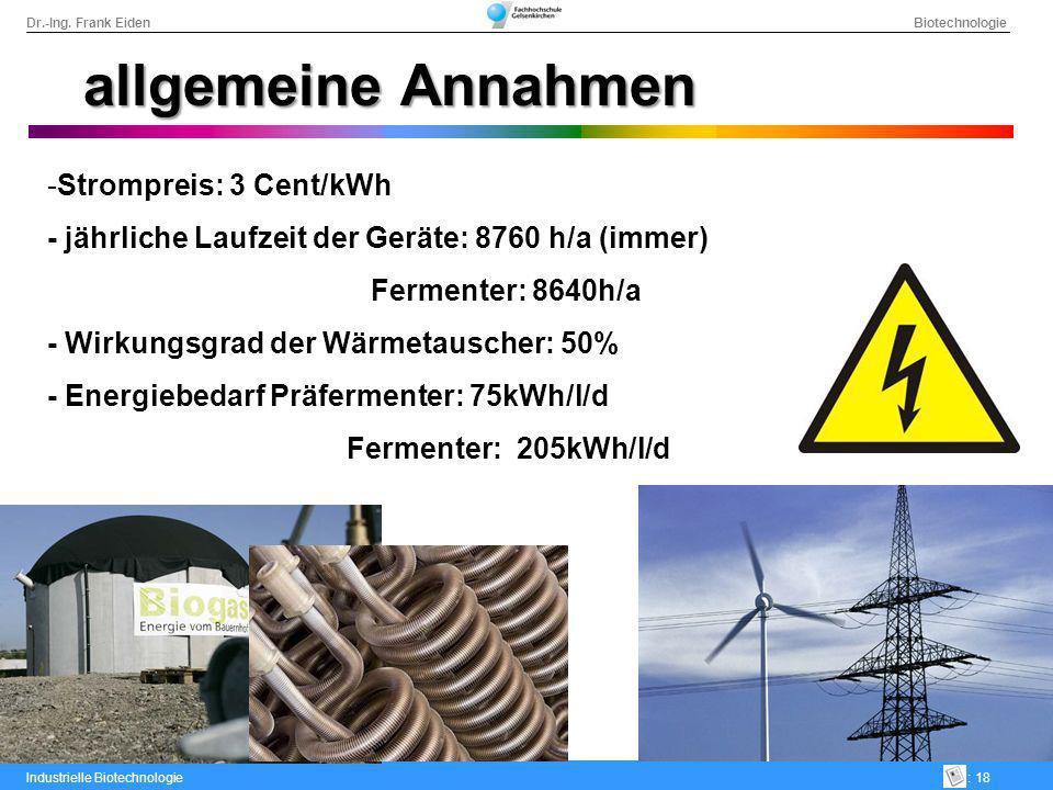 Dr.-Ing. Frank Eiden Biotechnologie Industrielle Biotechnologie: 18 allgemeine Annahmen -Strompreis: 3 Cent/kWh - jährliche Laufzeit der Geräte: 8760