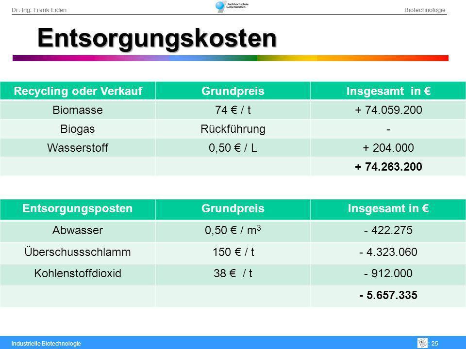 Dr.-Ing. Frank Eiden Biotechnologie Industrielle Biotechnologie: 25 Entsorgungskosten Recycling oder VerkaufGrundpreisInsgesamt in Biomasse74 / t+ 74.