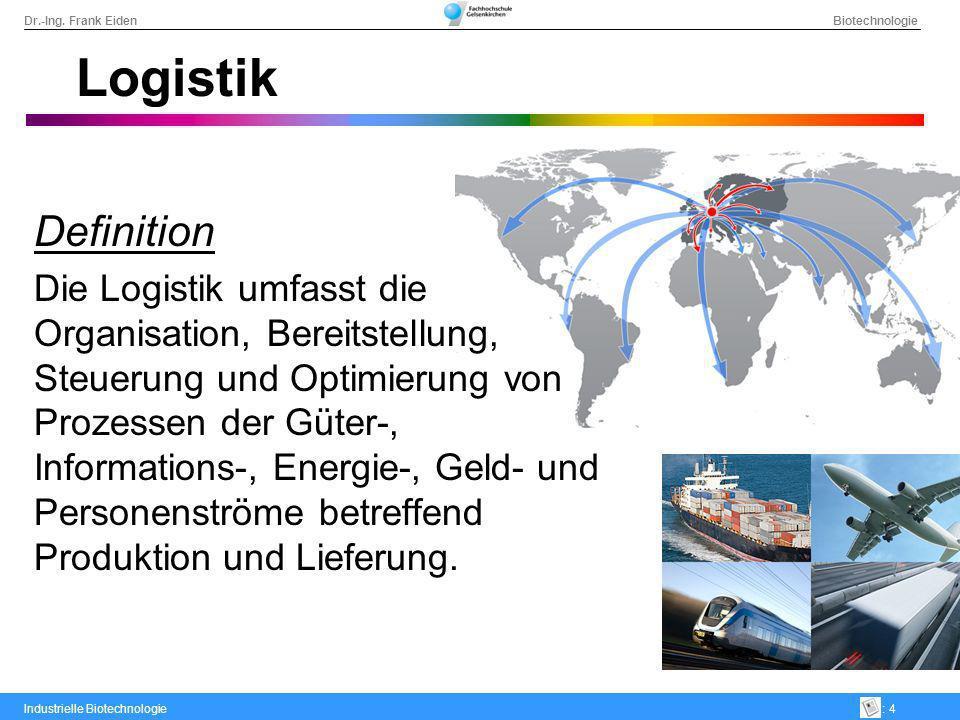 Dr.-Ing. Frank Eiden Biotechnologie Industrielle Biotechnologie: 4 Logistik Definition Die Logistik umfasst die Organisation, Bereitstellung, Steuerun