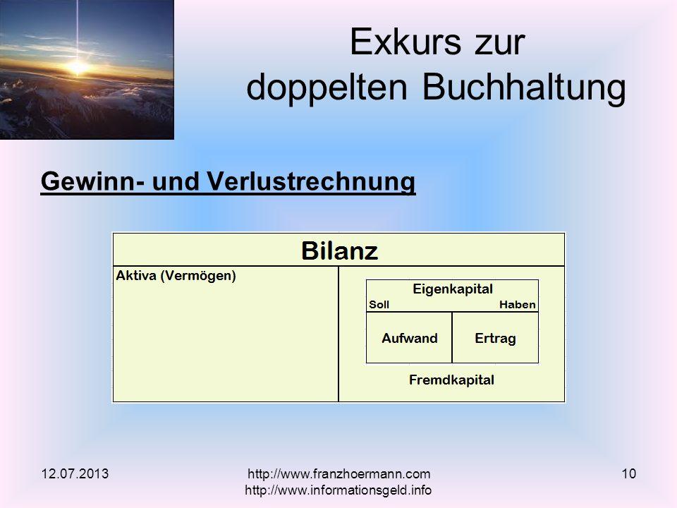 Gewinn- und Verlustrechnung Exkurs zur doppelten Buchhaltung 12.07.2013http://www.franzhoermann.com http://www.informationsgeld.info 10