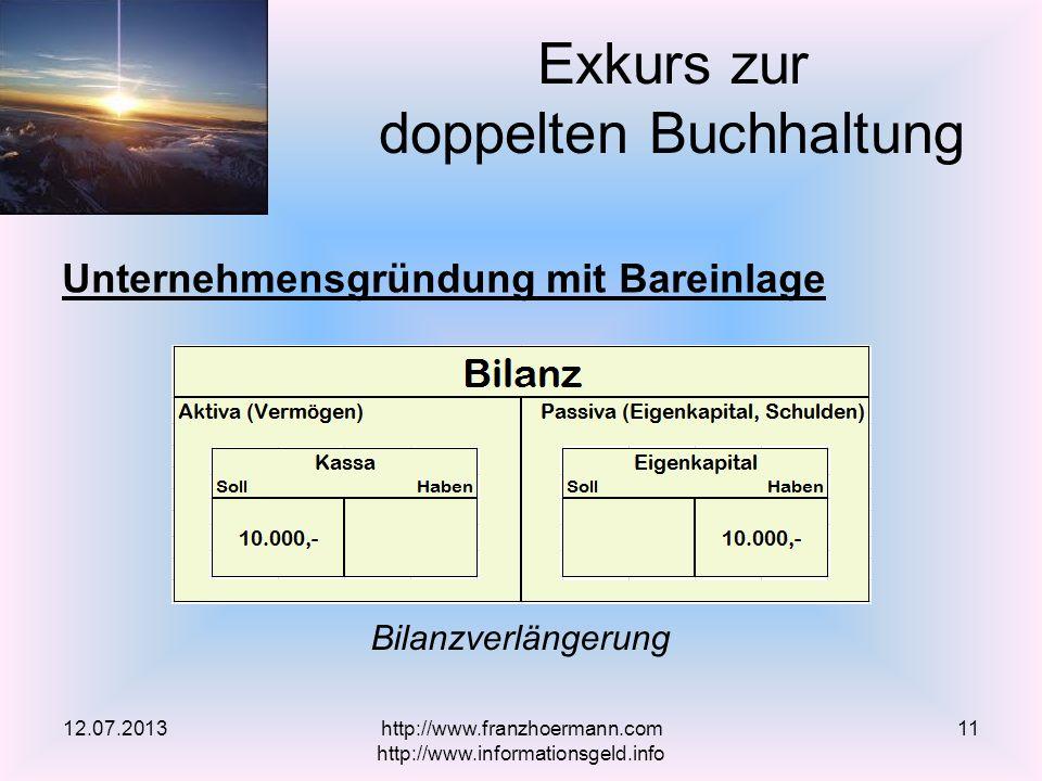 Unternehmensgründung mit Bareinlage Exkurs zur doppelten Buchhaltung 12.07.2013 Bilanzverlängerung http://www.franzhoermann.com http://www.informationsgeld.info 11