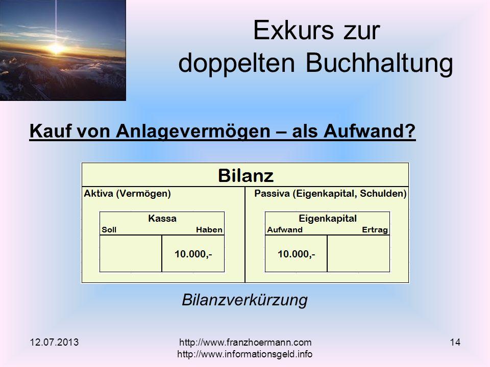 Kauf von Anlagevermögen – als Aufwand? Exkurs zur doppelten Buchhaltung 12.07.2013 Bilanzverkürzung http://www.franzhoermann.com http://www.informatio
