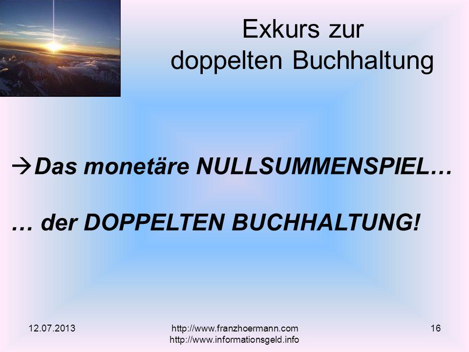 Exkurs zur doppelten Buchhaltung 12.07.2013 Das monetäre NULLSUMMENSPIEL… … der DOPPELTEN BUCHHALTUNG! http://www.franzhoermann.com http://www.informa
