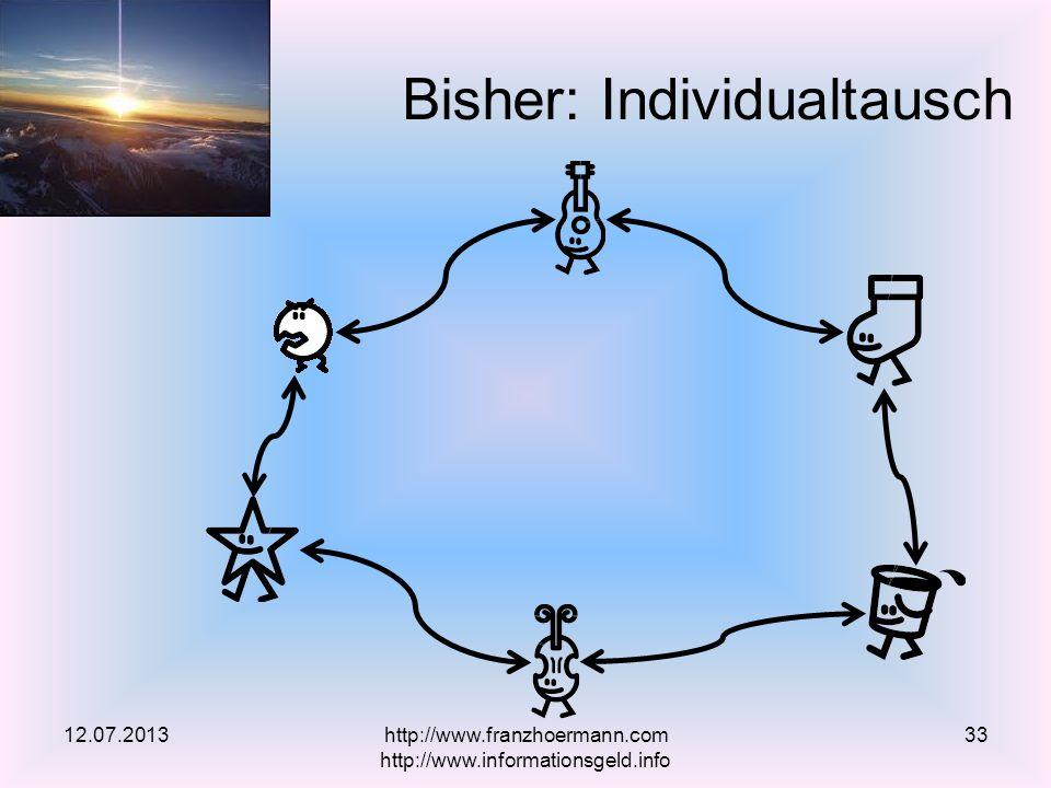 Bisher: Individualtausch 12.07.2013http://www.franzhoermann.com http://www.informationsgeld.info 33