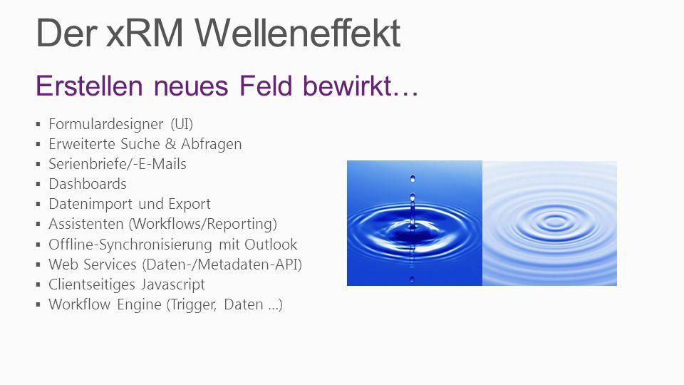 Der xRM Welleneffekt Erstellen neues Feld bewirkt… Formulardesigner (UI) Erweiterte Suche & Abfragen Serienbriefe/-E-Mails Dashboards Datenimport und