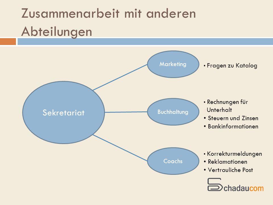 Zusammenarbeit mit anderen Abteilungen Sekretariat Marketing Buchhaltung Coachs Korrekturmeldungen Reklamationen Vertrauliche Post Fragen zu Katalog R