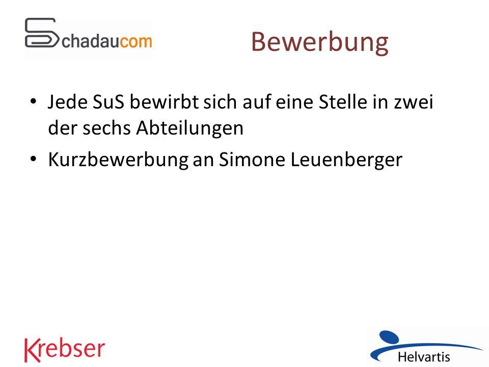 Bewerbung Jede SuS bewirbt sich auf eine Stelle in zwei der sechs Abteilungen Kurzbewerbung an Simone Leuenberger