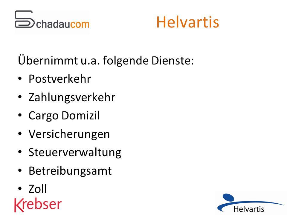 Helvartis Übernimmt u.a. folgende Dienste: Postverkehr Zahlungsverkehr Cargo Domizil Versicherungen Steuerverwaltung Betreibungsamt Zoll
