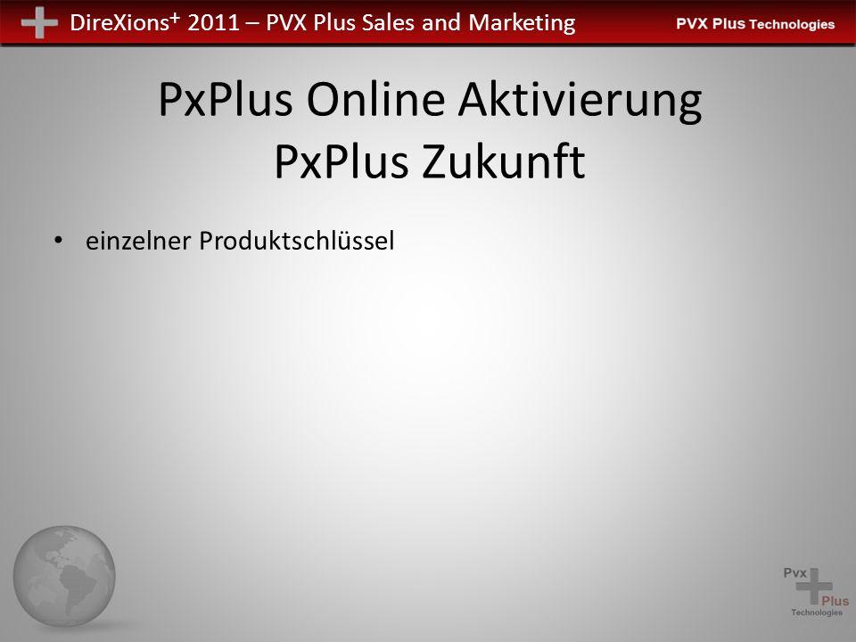 DireXions + 2011 – PVX Plus Sales and Marketing PxPlus Online Aktivierung PxPlus Zukunft einzelner Produktschlüssel