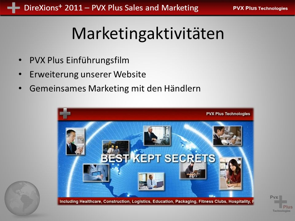 DireXions + 2011 – PVX Plus Sales and Marketing Marketingaktivitäten PVX Plus Einführungsfilm Erweiterung unserer Website Gemeinsames Marketing mit de
