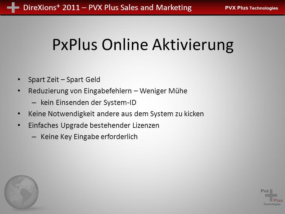 DireXions + 2011 – PVX Plus Sales and Marketing PxPlus Online Aktivierung Das im PxPlus eingebaute Internet basierte Aktivierungssystem enthält die folgenden Komponenten: 5-Segment 25 Zeichen Produkt Keys Automatisierte Aktivierungs- und Registrierungsprogramme Manuelle Aktivierung, falls keine Internet Verbindung verfügbar ist