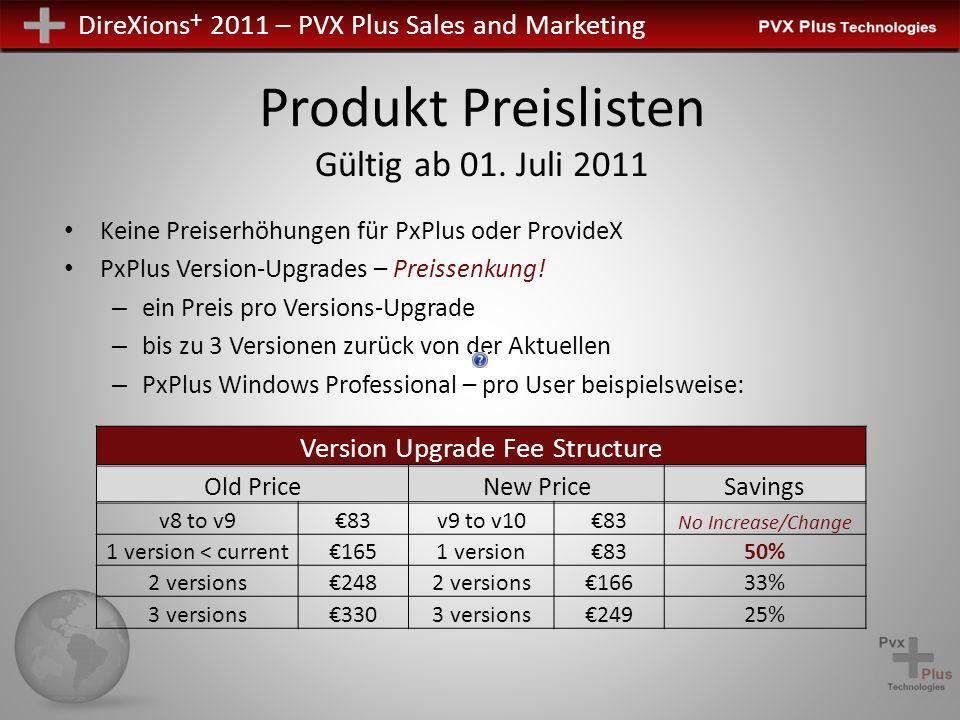DireXions + 2011 – PVX Plus Sales and Marketing Produkt Preislisten Gültig ab 01. Juli 2011 Keine Preiserhöhungen für PxPlus oder ProvideX PxPlus Vers