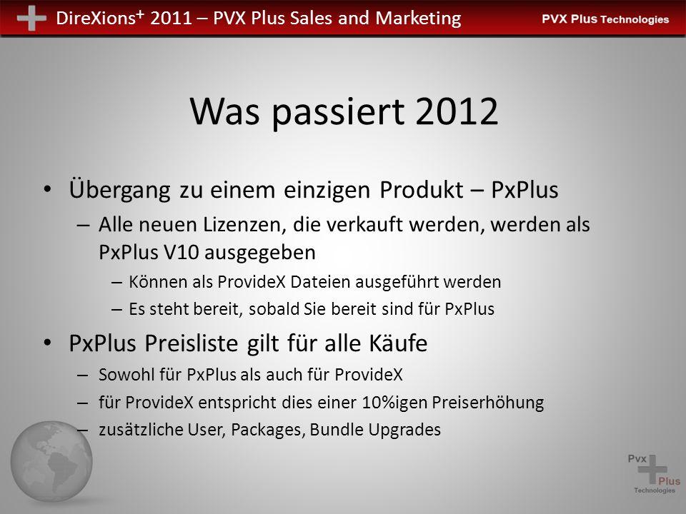 DireXions + 2011 – PVX Plus Sales and Marketing Was passiert 2012 Übergang zu einem einzigen Produkt – PxPlus – Alle neuen Lizenzen, die verkauft werd