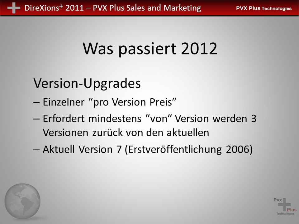 DireXions + 2011 – PVX Plus Sales and Marketing Was passiert 2012 Version-Upgrades – Einzelner pro Version Preis – Erfordert mindestens von Version we