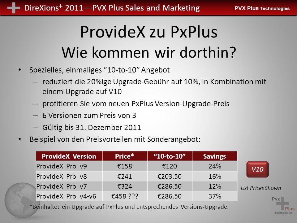 DireXions + 2011 – PVX Plus Sales and Marketing ProvideX zu PxPlus Wie kommen wir dorthin? Spezielles, einmaliges 10-to-10 Angebot – reduziert die 20%
