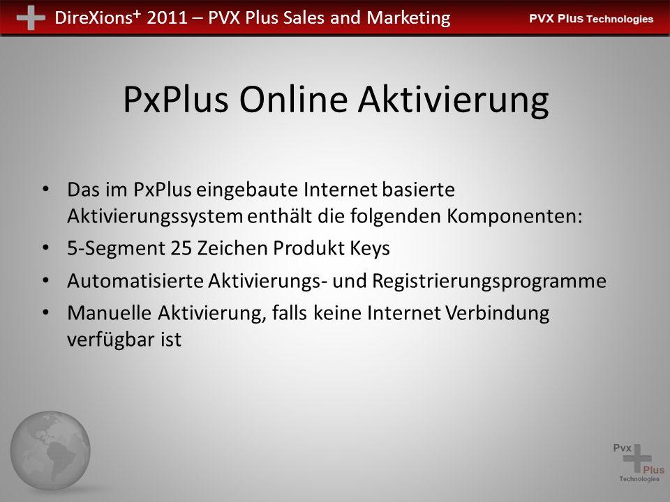 DireXions + 2011 – PVX Plus Sales and Marketing PxPlus Online Aktivierung Das im PxPlus eingebaute Internet basierte Aktivierungssystem enthält die fo