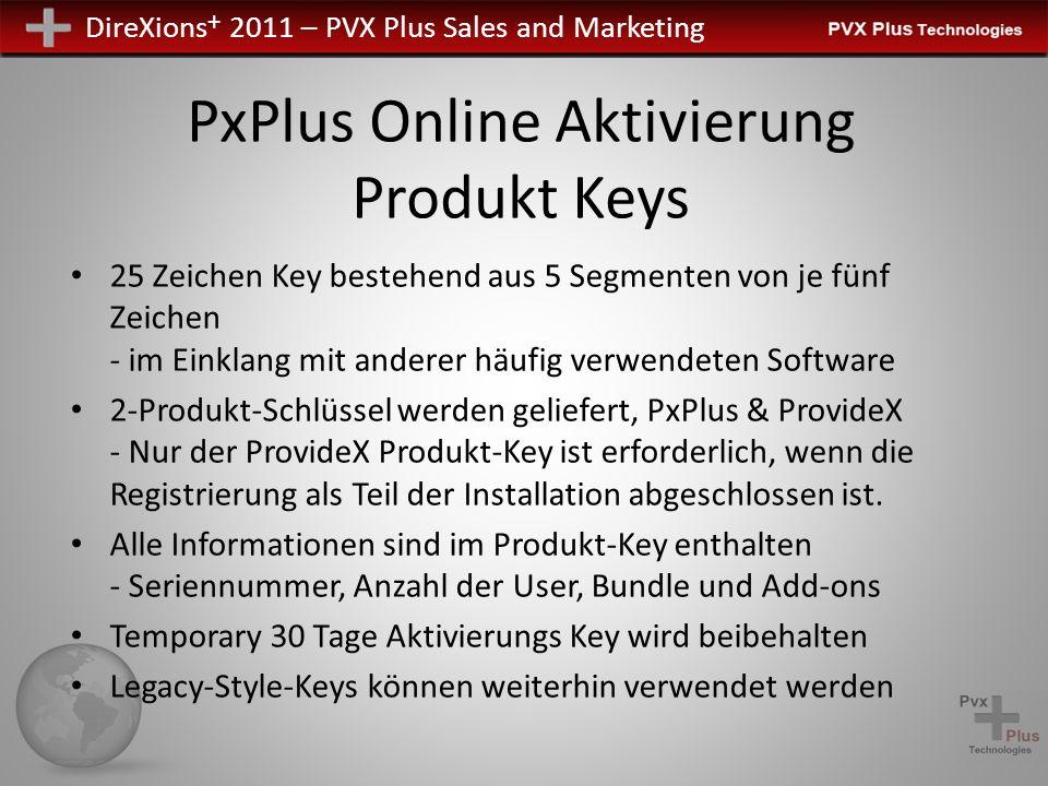 DireXions + 2011 – PVX Plus Sales and Marketing PxPlus Online Aktivierung Produkt Keys 25 Zeichen Key bestehend aus 5 Segmenten von je fünf Zeichen -