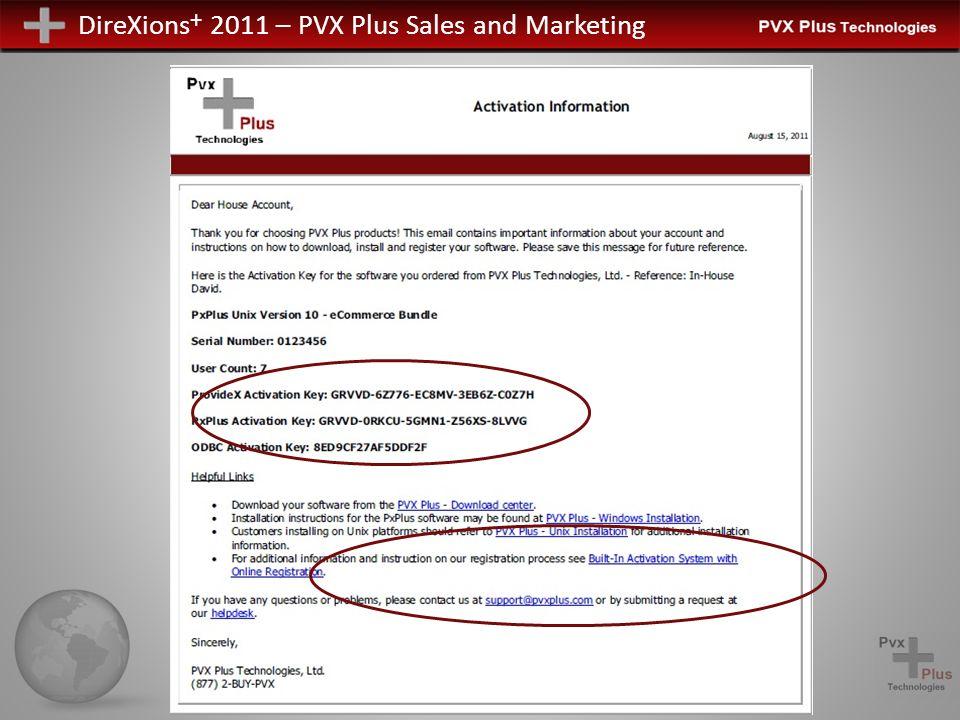 DireXions + 2011 – PVX Plus Sales and Marketing PxPlus Online Windows Aktivierung Das Aktivierungspanel wird als Teil der PxPlus Installation ausgeführt Automatisiert Temporary Manuell Legacy