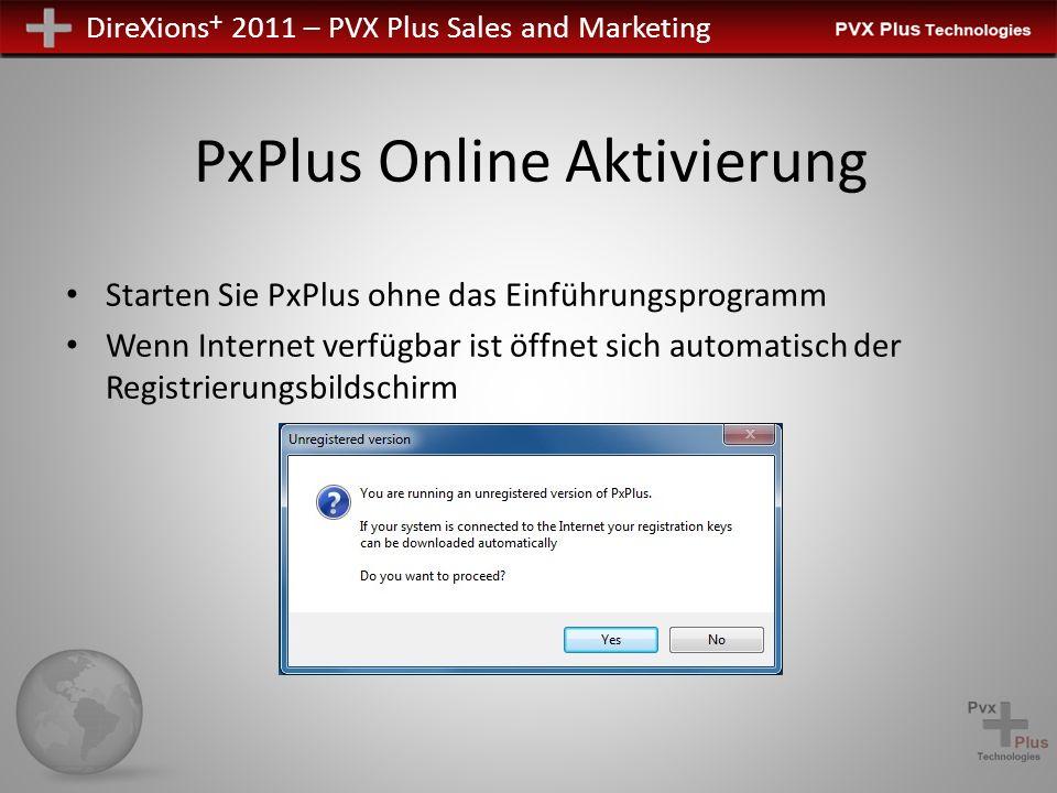 DireXions + 2011 – PVX Plus Sales and Marketing PxPlus Online Aktivierung Starten Sie PxPlus ohne das Einführungsprogramm Wenn Internet verfügbar ist