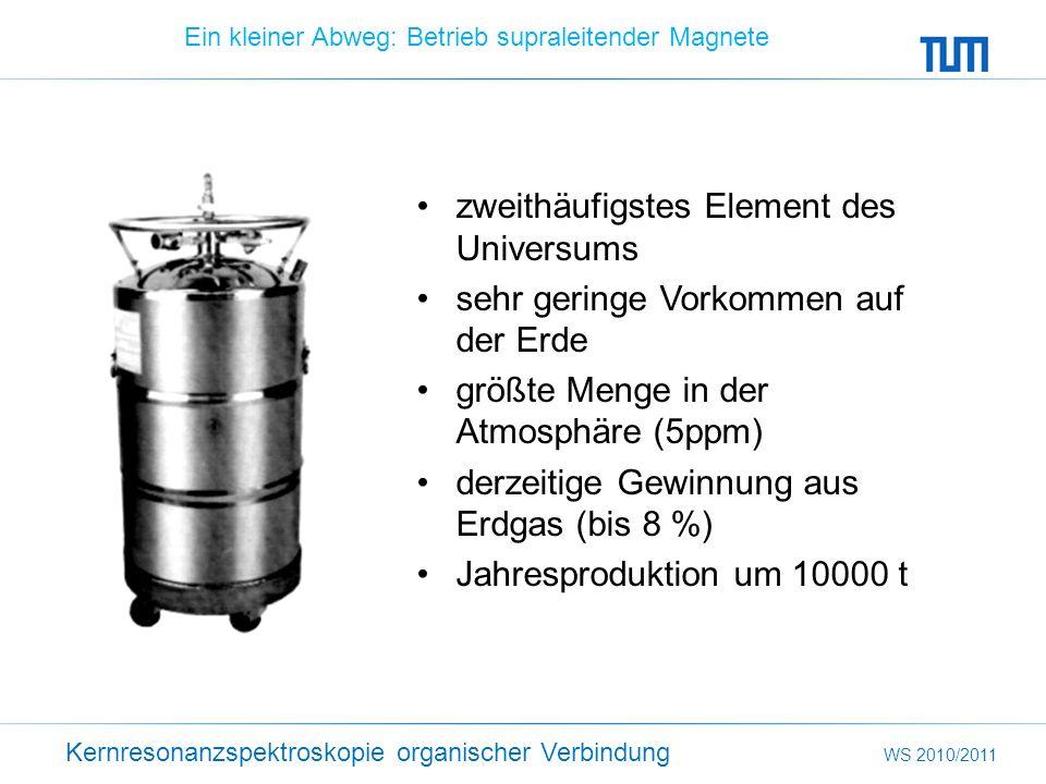 Kernresonanzspektroskopie organischer Verbindung WS 2010/2011 Ein kleiner Abweg: Betrieb supraleitender Magnete zweithäufigstes Element des Universums