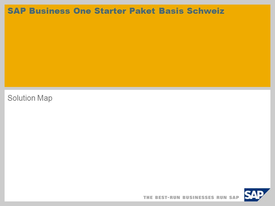 SAP Business One Starter Paket Basis Schweiz Solution Map