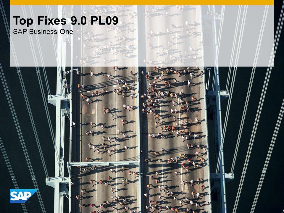INTERNAL Top Fixes 9.0 PL09 SAP Business One