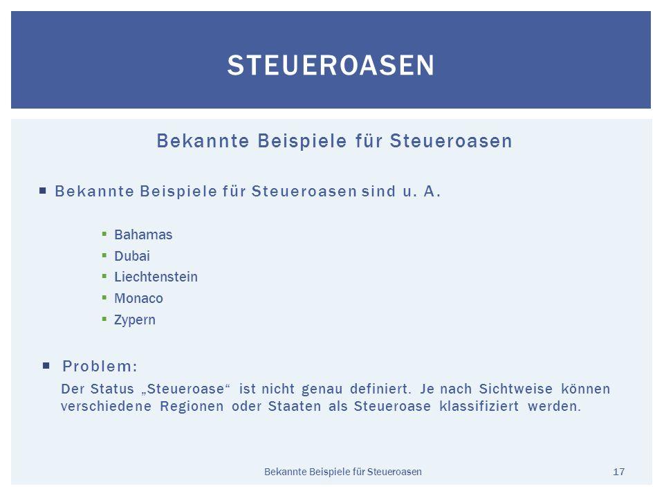 Bekannte Beispiele für Steueroasen Bekannte Beispiele für Steueroasen sind u. A. Bahamas Dubai Liechtenstein Monaco Zypern Problem: Der Status Steuero