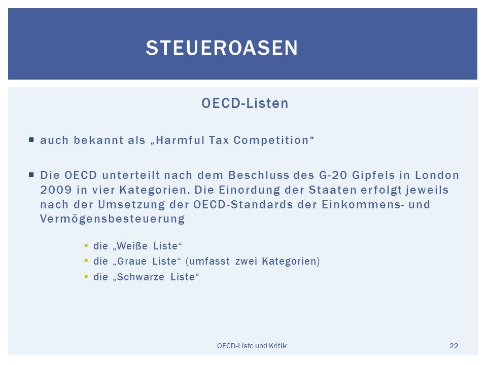 OECD-Listen auch bekannt als Harmful Tax Competition Die OECD unterteilt nach dem Beschluss des G-20 Gipfels in London 2009 in vier Kategorien. Die Ei