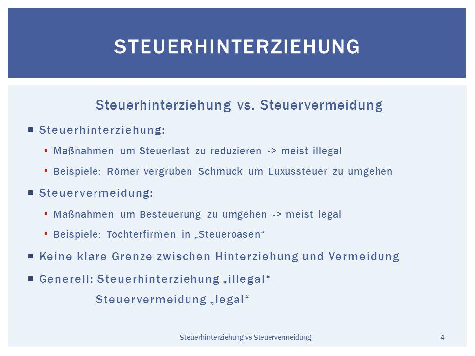 Steuerhinterziehung vs. Steuervermeidung Steuerhinterziehung: Maßnahmen um Steuerlast zu reduzieren -> meist illegal Beispiele: Römer vergruben Schmuc
