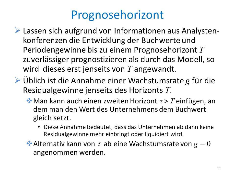 Prognosehorizont Lassen sich aufgrund von Informationen aus Analysten- konferenzen die Entwicklung der Buchwerte und Periodengewinne bis zu einem Prog