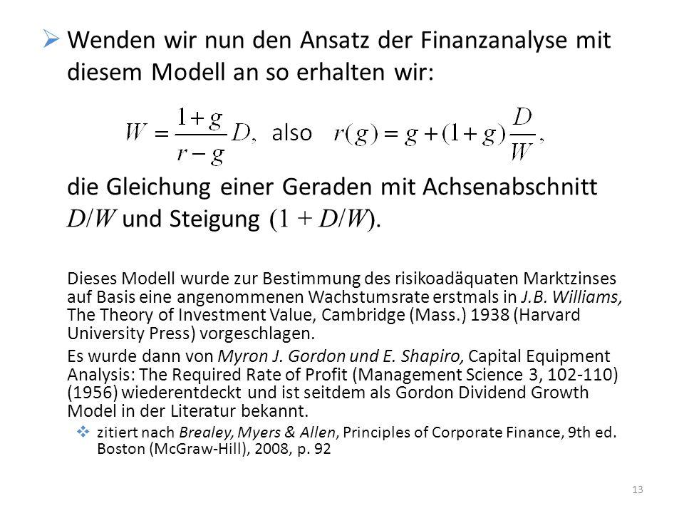 Dieses Modell wurde zur Bestimmung des risikoadäquaten Marktzinses auf Basis eine angenommenen Wachstumsrate erstmals in J.B. Williams, The Theory of