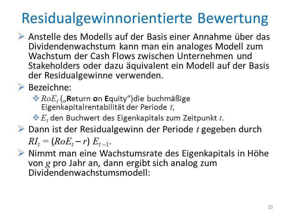 Residualgewinnorientierte Bewertung Anstelle des Modells auf der Basis einer Annahme über das Dividendenwachstum kann man ein analoges Modell zum Wach