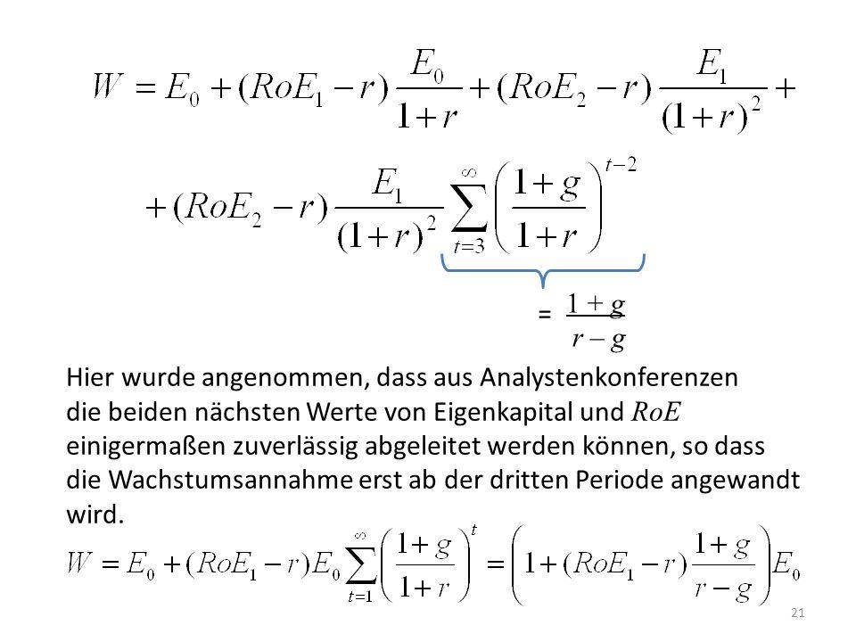 21 1 + g r – g = Hier wurde angenommen, dass aus Analystenkonferenzen die beiden nächsten Werte von Eigenkapital und RoE einigermaßen zuverlässig abge