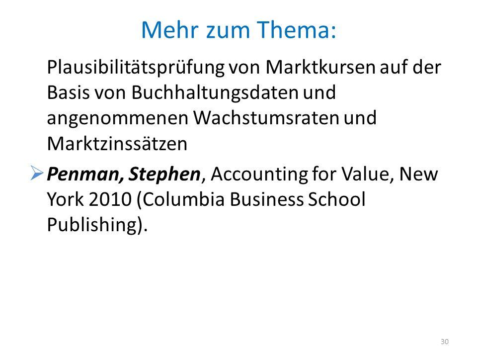 Mehr zum Thema: Plausibilitätsprüfung von Marktkursen auf der Basis von Buchhaltungsdaten und angenommenen Wachstumsraten und Marktzinssätzen Penman,