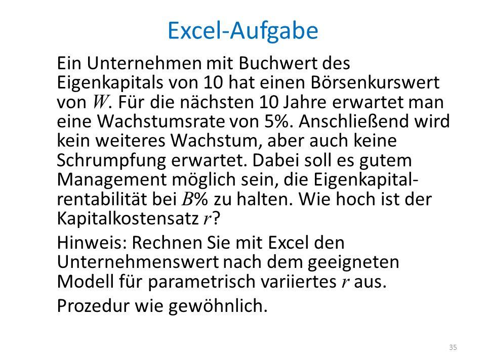 Excel-Aufgabe Ein Unternehmen mit Buchwert des Eigenkapitals von 10 hat einen Börsenkurswert von W. Für die nächsten 10 Jahre erwartet man eine Wachst