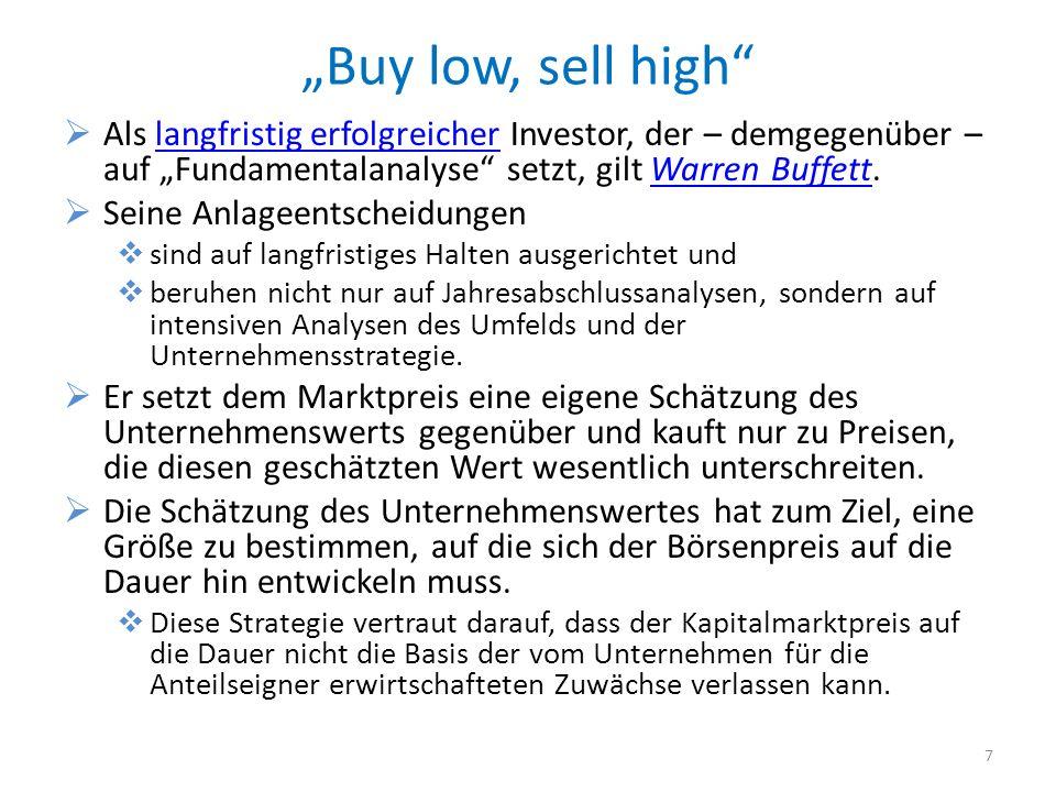 Buy low, sell high Als langfristig erfolgreicher Investor, der – demgegenüber – auf Fundamentalanalyse setzt, gilt Warren Buffett.langfristig erfolgre
