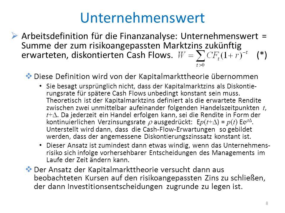 Unternehmenswert Arbeitsdefinition für die Finanzanalyse: Unternehmenswert = Summe der zum risikoangepassten Marktzins zukünftig erwarteten, diskontie
