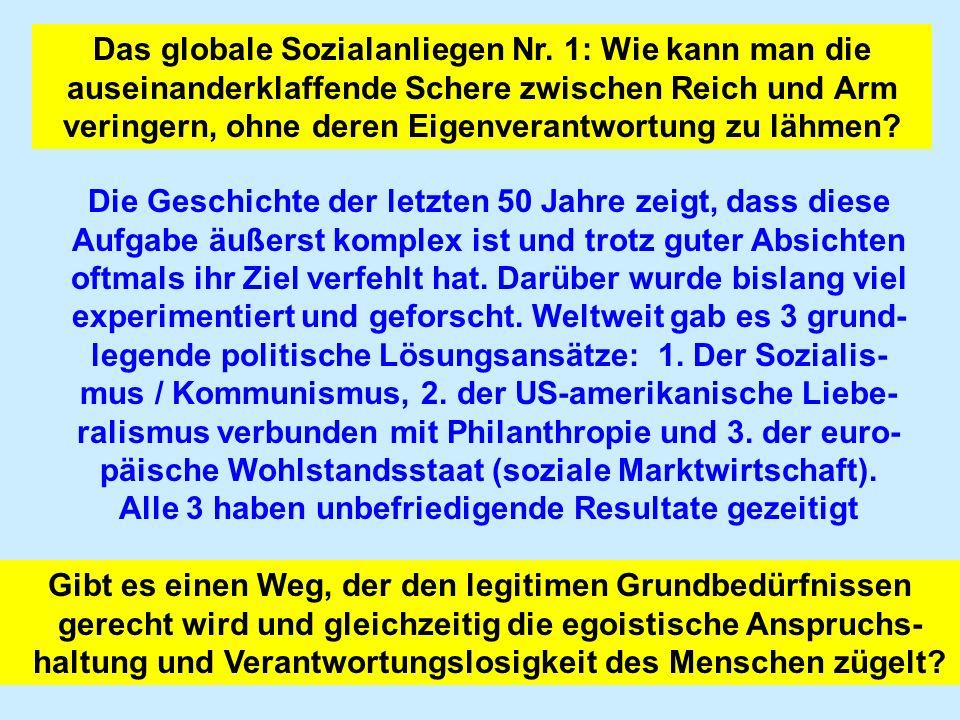 Das globale Sozialanliegen Nr. 1: Wie kann man die auseinanderklaffende Schere zwischen Reich und Arm veringern, ohne deren Eigenverantwortung zu lähm