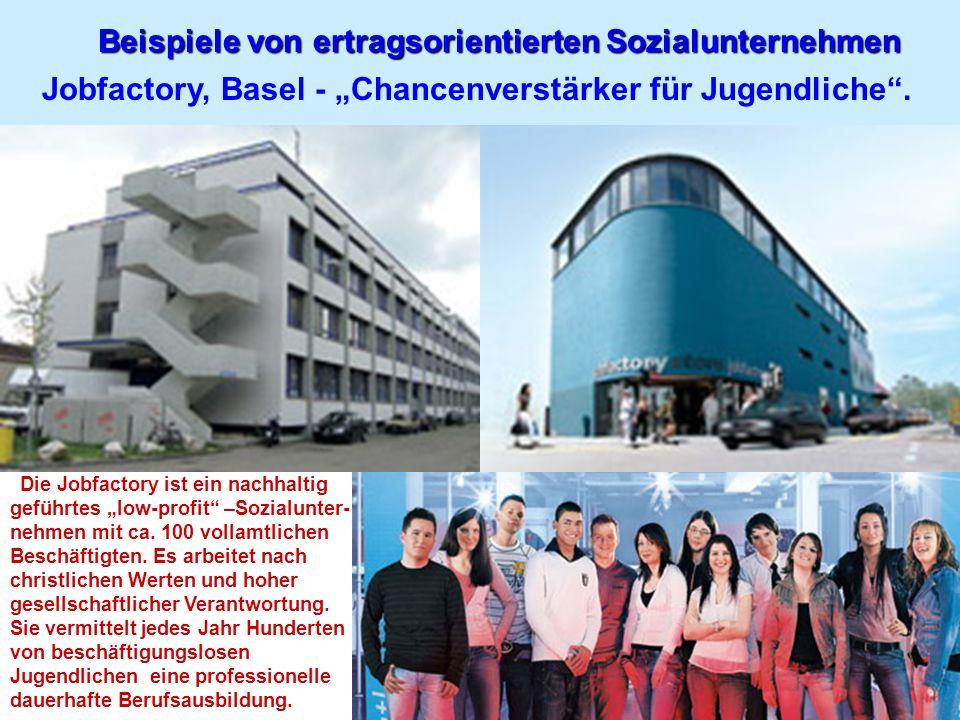 Beispiele von ertragsorientierten Sozialunternehmen Jobfactory, Basel - Chancenverstärker für Jugendliche. Die Jobfactory ist ein nachhaltig geführtes