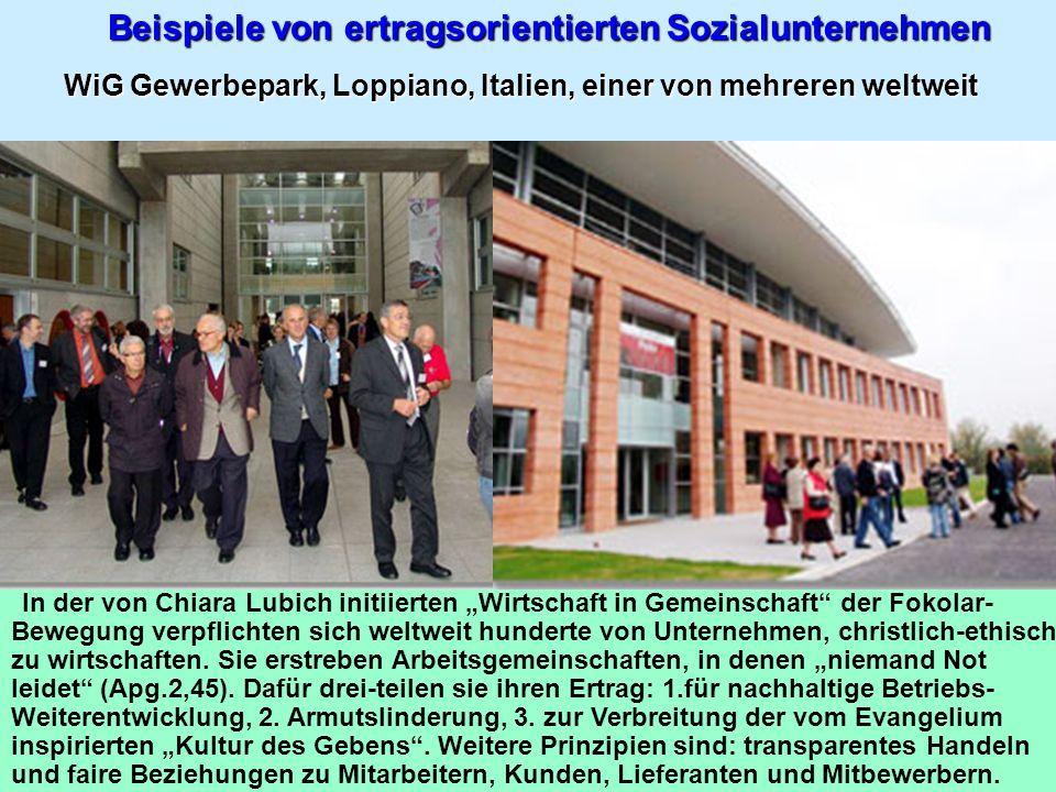 Beispiele von ertragsorientierten Sozialunternehmen WiG Gewerbepark, Loppiano, Italien, einer von mehreren weltweit In der von Chiara Lubich initiiert