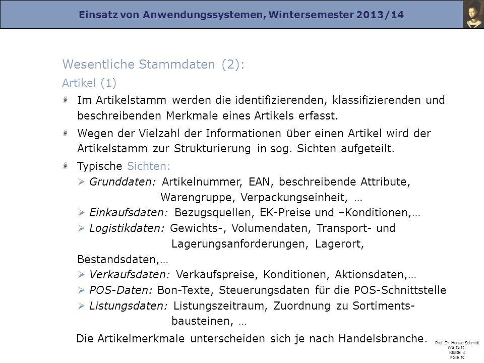 Einsatz von Anwendungssystemen, Wintersemester 2013/14 Prof. Dr. Herrad Schmidt WS 13/14 Kapitel 4 Folie 10 Wesentliche Stammdaten (2): Artikel (1) Im