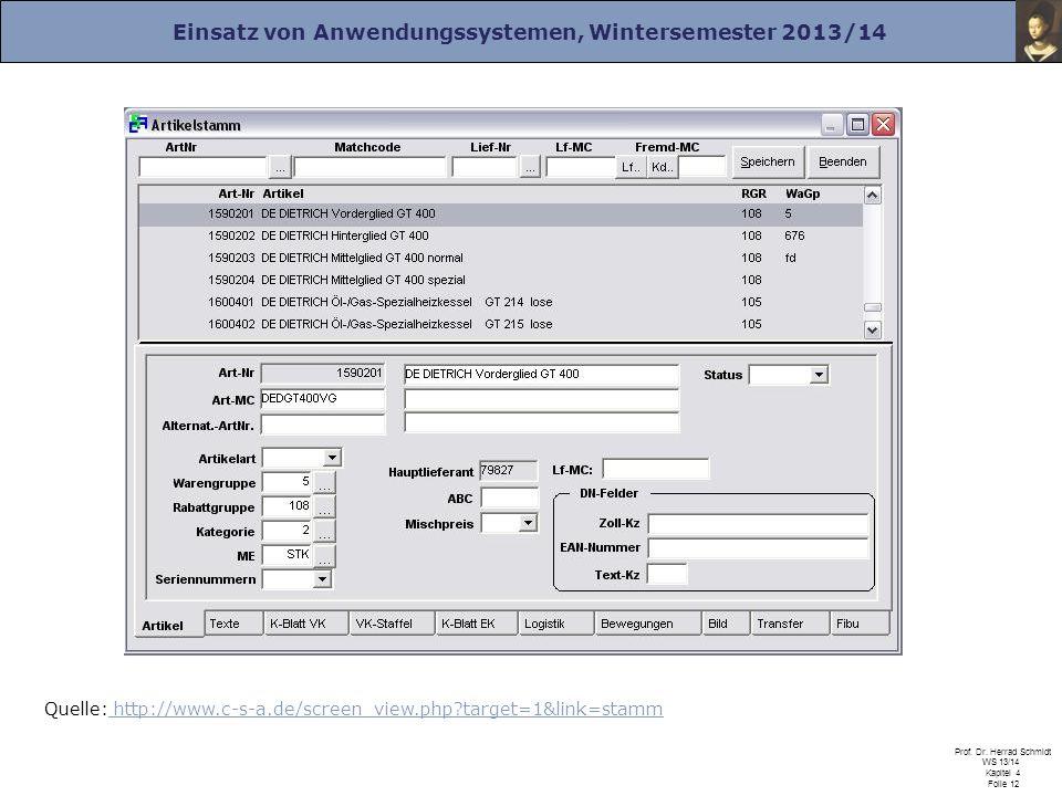 Einsatz von Anwendungssystemen, Wintersemester 2013/14 Prof. Dr. Herrad Schmidt WS 13/14 Kapitel 4 Folie 12 Quelle: http://www.c-s-a.de/screen_view.ph