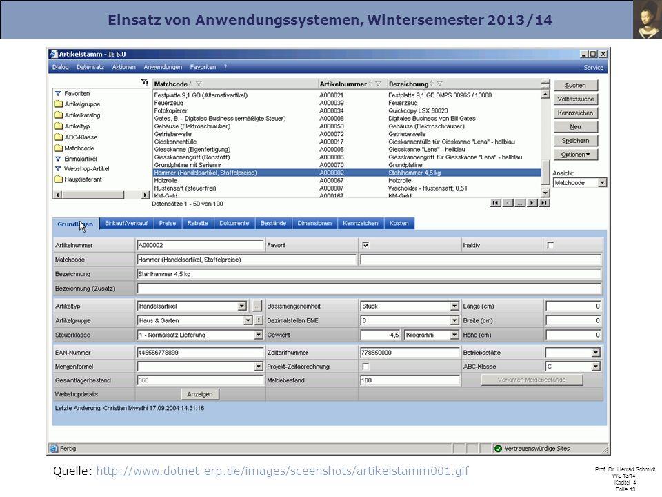Einsatz von Anwendungssystemen, Wintersemester 2013/14 Prof. Dr. Herrad Schmidt WS 13/14 Kapitel 4 Folie 13 Quelle: http://www.dotnet-erp.de/images/sc