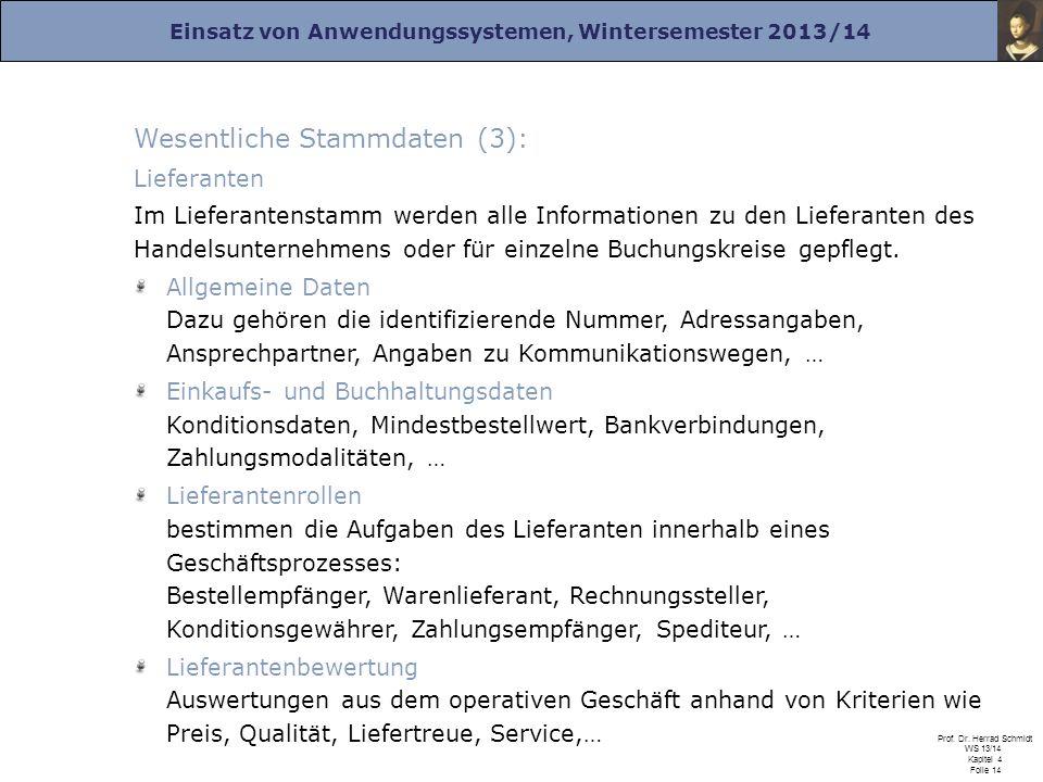 Einsatz von Anwendungssystemen, Wintersemester 2013/14 Prof. Dr. Herrad Schmidt WS 13/14 Kapitel 4 Folie 14 Wesentliche Stammdaten (3): Lieferanten Im