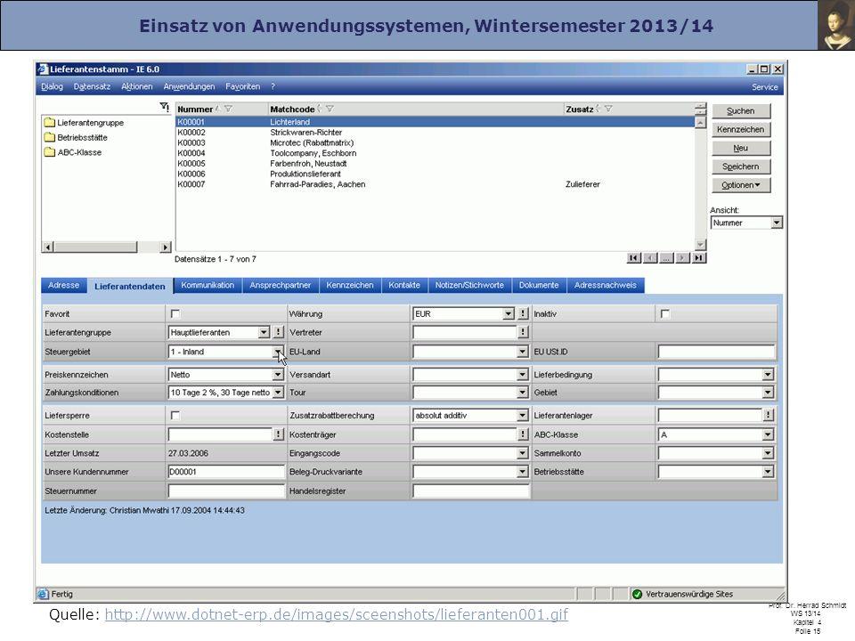 Einsatz von Anwendungssystemen, Wintersemester 2013/14 Prof. Dr. Herrad Schmidt WS 13/14 Kapitel 4 Folie 15 Quelle: http://www.dotnet-erp.de/images/sc